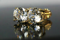 4.00 CTW Stud Earrings Moissanite Brilliant Round Cut Yellow Real Solid Gold 14k