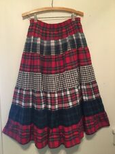 """Koret 90""""S Plaid and Check Flannel Tiered Circle Broomstick Skirt Praire Grunge"""