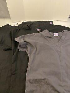 Lot of 3 Cherokee Workwear Scrub Tops 2 Black 1 Gray Size Small