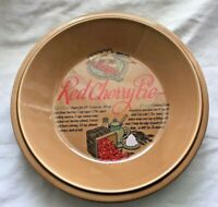 """RED CHERRY 11"""" PIE DEEP DISH SERVER KEEPER  w/ RECIPE VTG? WELCOME ENT CO EUC"""