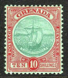 Grenada 1908 green/red 10/- crown CA perf14 mint SG83