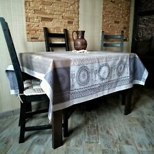 Linen tablecloth, jacquard weaving pattern. Handmade. High quality.