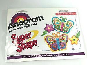 "Vintage Anagram Super Shape Butterfly Flower Cluster Balloon Bunch Mylar 28X31"""