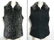 Parkhurst Reversible Faux Fur Vest M Gray Leopard Print Black Outdoor Edition 8