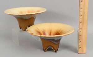 2 Antique c.1925 Arts & Crafts Fulper Art Pottery Flambe Glaze Footed Bowls
