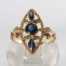 DIVINE 9K 9CT GOLD BLUE SAPPHIRE & DIAMOND ART DECO INS RING FREE RESIZE