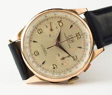 Vintage watch 1950 Or 18k Chronographe Suisse Oversize 40 mm élégant men suit