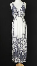 New Summer Dress Empire Waist V Neck Full Length Floral Poly Jersey Size S