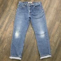 LEVIS 505 - Vtg Faded Whiskered Worn Knee-Hole Straight Blue Jeans, Mens 34 x 33