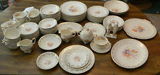 (93) Piece Royal China Painted Flowers 22K Gold Warranted Serving Set of 10+ Ex