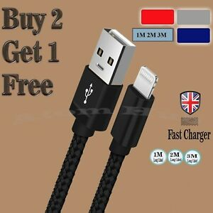For iPhone 12 11 Pro X 8 7 6s USB Data Cable Lead Extra Long Fast Charge Charger