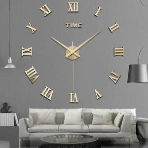 Modern Wall Clock 3D DIY Roman Number Mirror Surface Wall Sticker Decor Clock US