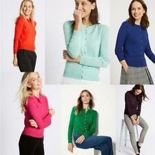 M/&S Collection Womens Fine Knit Cardigan Cardie Top Round Neck Long Sleeves 6-20