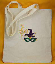 Mardi Gras Embroidered Canvas Tote Bag - Mardi Gras Mask - Throw Bag Catch Beads