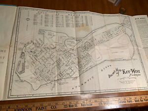 c1940 large map KEY WEST & Florida Keys dist by VALLADARES & Son Advertising old