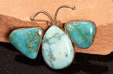 """Navajo Turquoise Butterfly Pin with Silver Twistwire 2 3/4"""" x 1 7/8"""""""