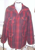 VTG 1940's/50's WOOLRICH RED BLACK WOOL PLAID MACKINAW HUNTING JACKET SIZE 42