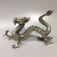 26cm Collect chinese feng shui tibet Silver copper dragon loong big statue decor