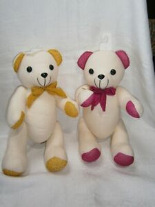 """2 NEW TWIN 15"""" (38CM)  CALICO JOINTED TEDDY BEARS WITH SAFETY EYES & NOSES."""