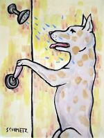 GREAT DANE SHOWER bathroom dog art PRINT poster gift modern folk 11x14 JSCHMETZ