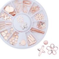 Rose Gold 3D Nail Art Decorations Sun Snowflake Nail Tools in Wheel