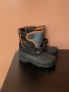 Men's Sintetico Essential Winter Snow Lined Boots Black w/ Neon Orange