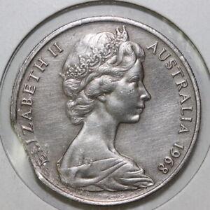 Australian Australia 1968 20 cents clipped planchet Error Fault (SC29/Y21)