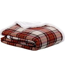 "Eddie Bauer Edgewood Plaid Flannel Sherpa Throw Blanket, 50"" x 60"", Red"