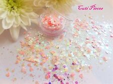 Nail Art Chunky *SweetHeart* Holographic Hexagon Pink Hearts Glitter Spangle Pot