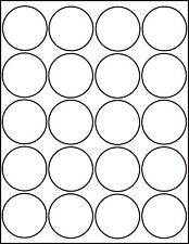 500 Printable Laser Glossy White Round Stickers 2 inch Labels 25 Sheets 4220GW