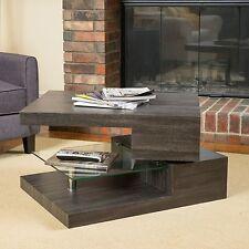 Contemporary Modern Rectangular Rotating Wood Coffee Table