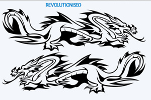 Pair of LARGE Tribal Dragon Car Side Sticker Vinyl Graphics Decals Van
