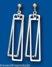 White and Yellow Gold Drops Two Colour Gold Drop Earrings