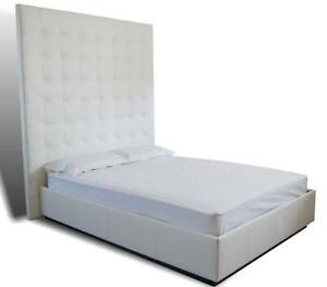 Modern- Contemporary Oversized Tufted Queen Size White, Genuine Leather Bed -XXT