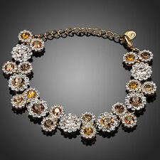 18K Gold GP Made With Swarovski Crystal Elements Yellow Flower Bangle Bracelet