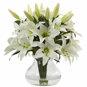 Nearly Natural 1434 Lily Silk Arrangement with Glass Vase