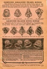 1922 small Print Ad of Abalone Pearl Rings, Black Onyx Rings, Corodite Diamond