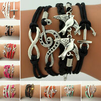 ✧Jewelry fashion Leather Cute Infinity Charm Bracelet Silver lots Style Pick✧
