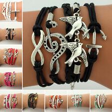 Vintage bracelet en cuir Tour de bras collier amour ancre infini
