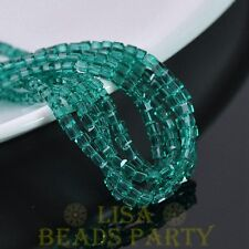 100pcs 4mm Cube Square Faceted Crystal Glass Loose Spacer Beads Peacock Green