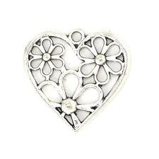 10pcs Antique Silver Filigree Charm Heart Flower Pendants for Necklace Making
