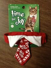 Pet Clothes Christmas Cat Neck Tie Collar Time for Joy  EUC! Only Worn Once!
