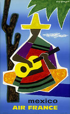 ORIGINAL Vintage Airline Travel Poster AIR FRANCE Mexico GUITAR Sombrero Georget