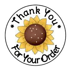 """24 PERSONALIZED FALL SUNFLOWER THANK YOU FAVOR LABELS ROUND STICKERS 1.67"""""""