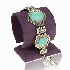 Great Turquoise Friendship Floral Oval Wristband Link Chain Bangle Bracelet