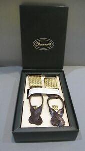 Faconnable NIB Floral Braces Suspenders Leather Hand Made in England in Box