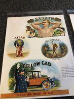 VINTAGE CIGAR BOX LABEL SAMPLE ART YELLOW CAB;BACCHANTE;SANDOW;ATLAS GORGEOUS!