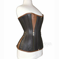Genuine / Real Nappa Leather & Steel Spiral Bones Black Brown Over Bust Corset