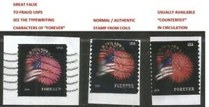 FALSE to fraud USPS : #2 Counterfeit + 1 Real Fireworks Stamps on Piece Sc.4868