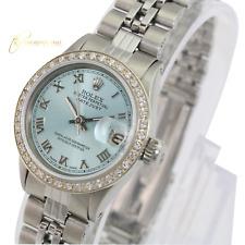 Rolex Lady  Datejust 26mm Ice Blue Roman Dial Diamond Bezel  Approx 1.15CTW